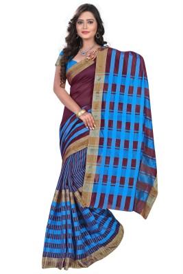 Meetu Checkered Fashion Cotton Linen Blend Sari