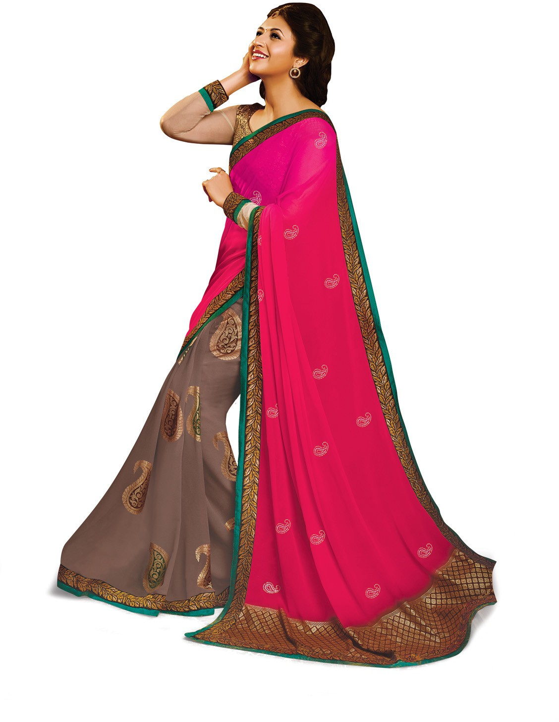 Indianbeauty Self Design, Printed Bollywood Pure Georgette Saree(Pink, Grey)