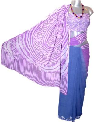 Kreasions Geometric Print Hand Batik Handloom Georgette Sari