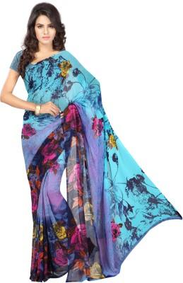Chandra Silk Mills Floral Print Fashion Art Silk Sari