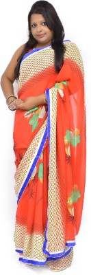 Gulmohaar Printed, Geometric Print, Graphic Print Bollywood Georgette Sari