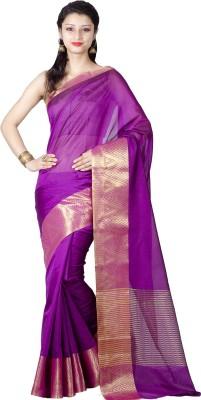 Chandrakala Woven Banarasi Silk Saree(Purple) at flipkart