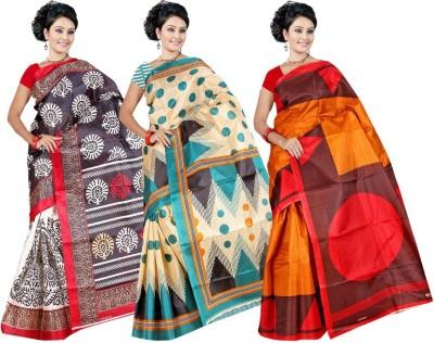 Garg Fashion Floral Print Bhagalpuri Printed Silk Sari