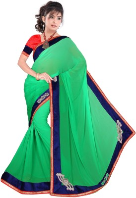 KHUSHALI COLLECTION Embriodered Bollywood Handloom Pure Georgette Sari