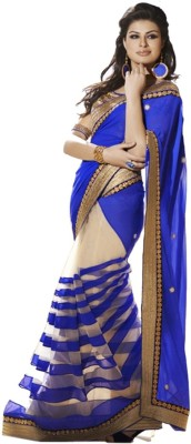 PRN Self Design Bollywood Handloom Net Sari