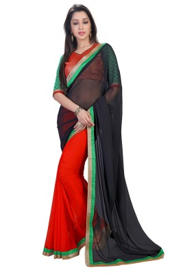 Zombom Striped Daily Wear Handloom Georgette Sari