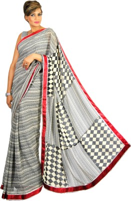 Geisha Checkered, Printed Fashion Georgette Sari