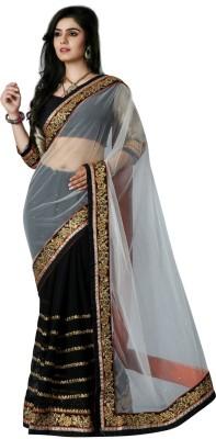 Gerbera Designer Self Design Fashion Net, Raw Silk Sari