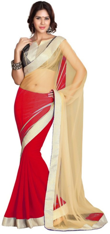 Indian E Fashion Solid Bollywood Net, Georgette Saree(Red)