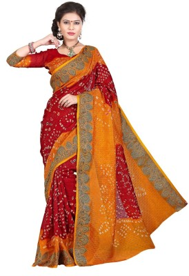 Wedding Villa Hand Painted Bandhani Art Silk Sari