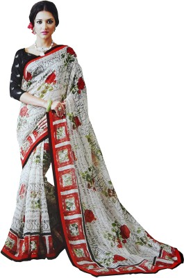 LolyDoll Printed, Graphic Print Bollywood Silk Cotton Blend Sari