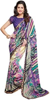 Salwar Studio Striped, Printed Daily Wear Synthetic Georgette Sari