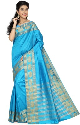 Rani Saahiba Woven Fashion Tussar Silk Sari(Light Blue)