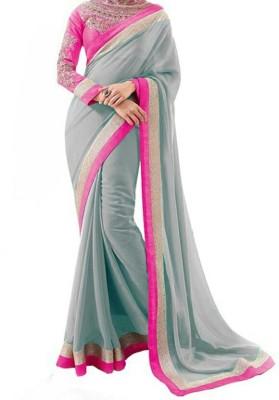 Dharmaproducts Printed Bollywood Chiffon Sari