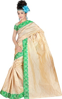 SareeBazaar Striped Chanderi Cotton Sari