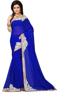 Laddeez Self Design, Solid, Embroidered Bollywood Georgette Saree(Blue) at flipkart