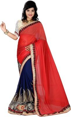 Krishna Prints Embriodered Bollywood Georgette, Lycra Sari