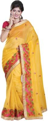 Glad2baWoman Floral Print, Self Design, Woven Bomkai Net Sari
