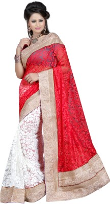 Ansu Fashion Floral Print Fashion Brasso Saree(Red) at flipkart
