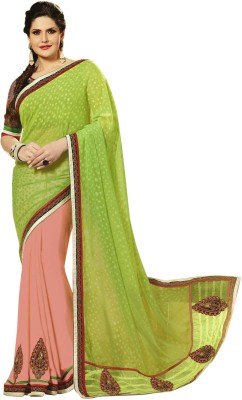 Prerana Fashion Embriodered Fashion Georgette, Jacquard Sari