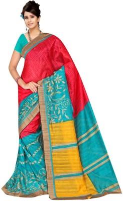 Kpcreation Floral Print Banarasi Banarasi Silk, Cotton Sari