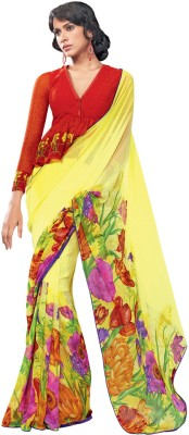 Hypnotex Floral Print Fashion Georgette Sari