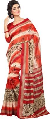Connectshop Printed Bhagalpuri Linen Sari