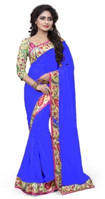 DEEPAK SARI Solid Bollywood Georgette Sari
