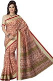 Mann Printed Gadwal Cotton Saree (Red)