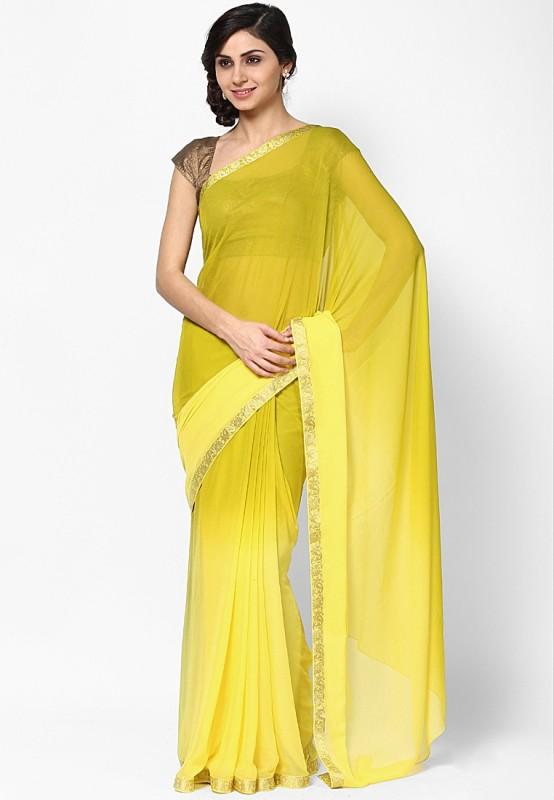 Vivid India Solid Fashion Chiffon Saree(Multicolor)