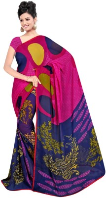Maxusfashion Polka Print Bollywood Georgette Sari
