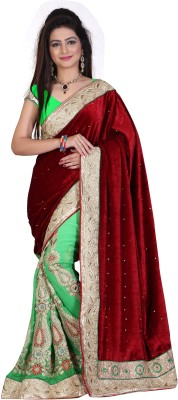 Om Fashion Embriodered Fashion Velvet Sari