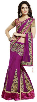 Vidya Fashion Self Design Lehenga Saree Net Saree(Purple) at flipkart