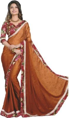 Mananstha Fashions Printed, Self Design, Embellished Fashion Satin, Chiffon Sari