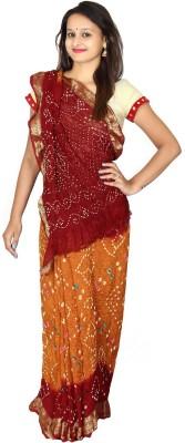 KAJCI Solid Bandhani Art Silk Sari