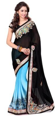 Sourbh Sarees Plain Fashion Georgette, Satin Sari