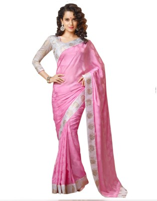 First Lady Embriodered Daily Wear Satin Sari