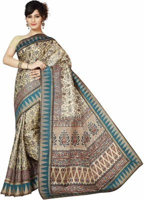 Rani Saahiba Applique Bhagalpuri Art Silk Sari(Blue)
