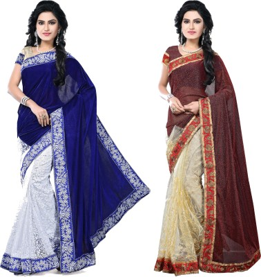 SNV Fashion Embriodered, Embellished Fashion Velvet, Brasso, Lycra, Net Sari