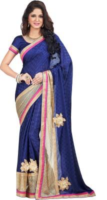 Shonaya Embroidered Fashion Crepe, Jacquard Saree(Blue) at flipkart