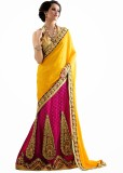 Aasvaa Self Design Lehenga Saree Jacquar...