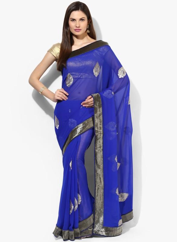 Aryahi Embroidered Fashion Georgette Saree(Blue)