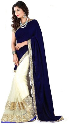 Uma Traders Embriodered Fashion Velvet, Net Sari