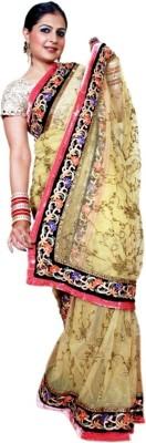 Golden Tassel Embriodered Bollywood Handloom Net Sari