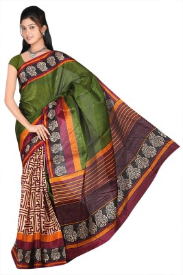 Eagle Fashion Striped Rajshahi Handloom Georgette Sari