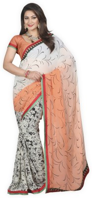 Yehii Floral Print Fashion Pure Georgette Sari