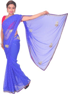 PurpleYou Embellished Fashion Georgette Sari