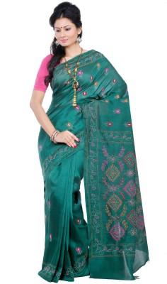 Crochetin Self Design Fashion Dupion Silk Sari
