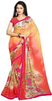 SkyBlue Fashion Printed Daily Wear Georgette Sari