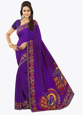 Purple Boat Polka Print Daily Wear Pure Crepe Sari